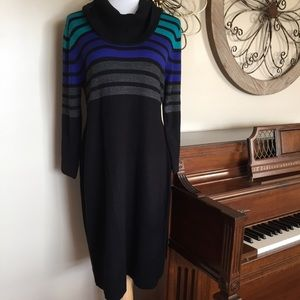 NWT Size XL Black Striped Cowl Neck Sweater Dress